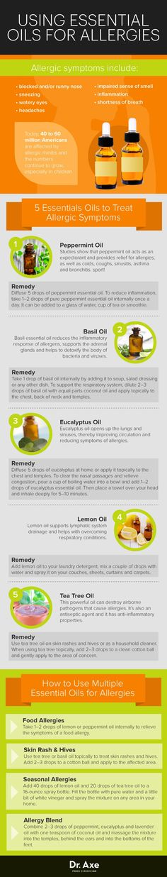 Top 5 Essential Oils for Allergies - Dr. Axe Top 5 Essential Oils for Allergies - Dr. Axe People who suffer from allergies can't always av. Essential Oil Uses, Doterra Essential Oils, Natural Essential Oils, Young Living Essential Oils, In Natura, Aromatherapy Oils, Living Oils, Belleza Natural, Natural Medicine