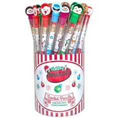 The Holiday Smencils Cylinder of 50, Stocking Stuffers comes with 50 of our scented pencils that are made from 100% recycled newspapers.