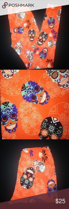 Buttery Soft Halloween Sugar Skull Leggings OS BUTTERY SOFT HALLOWEEN SUGAR SKULL & DIAMOND LEGGINGS Size: One Size ~ OS Numeric Size: 2-10 Waistband: Elastic Brand: NOT LULAROE Fabric Blend: 92% Polyester 8% Spandex (Same blend as Lularoe) Brand New - Hard to Find Limited Edition Print! Super Soft & Comfy Leggings ~ Just Like Other Brands!! These ARE NOT LuLaRoe Leggings But Fit & Feel Just Like Them! *Ships Within 24 Hours* *Smoke Free Home* ~All Prints Are Limited Edition~ ~If You Love it…