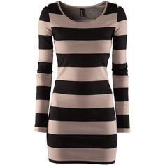 H&M Dress (£9.99) ❤ liked on Polyvore featuring dresses, vestidos, tops, h&m, shirts, striped, short dresses, long sleeve short dress, striped dress and stripe dress