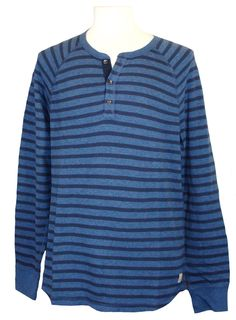 NEW Lucky Brand Mens Shirt Henley Knit Cotton Long Sleeve Stripe Navy Blue Sz XL #LuckyBrand #Henley
