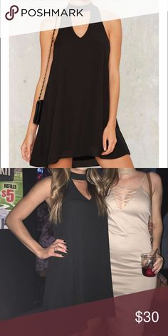 nasty gal choker dress Choker skater dress. Worn twice once for my birthday once for my work holiday party! Perfect condition. No tears or snags no stains. The dress is fully lined. Polyester. True to size. There is a button on back to close. Nasty Gal Dresses Mini