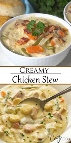This easy Creamy Chicken Stew is an classic comfort food that you can make on the Stove Top, Crock Pot, or Instant Pot! Serve it over biscuits or top it with dumplings! and Drink crock pot pork chops Creamy Chicken Stew Creamy Chicken Stew, Stew Chicken Recipe, Easy Chicken Pot Pie, Chicken And Dumplings, Chicken Chili, Chicken Gnocchi, Crack Chicken, Southern Chicken Stew Recipe, Slow Cooker Chicken Stew
