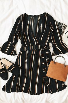 Love the vertical stripes and bell sleeves. How can you say no to a wrap dress?