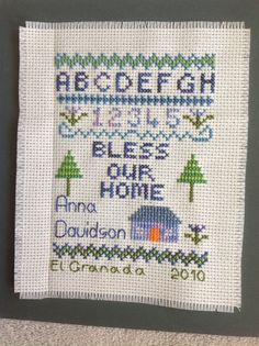 Sampler for students. This is designed with an eye on historical samplers which always featured an alphabet and numbers. This simple version has been stitched by hundreds of my students.