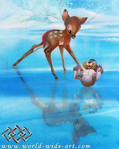 Bambi - Bambi and Thumper - Winter Fun - Original - John Rowe - World-Wide-Art.com