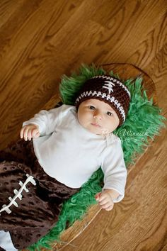 Baby Boy Hat Football by bellebabyboutique, $18.00@Roxy Falappino I'm so making this when you two have a kid otherwise still very funny!!