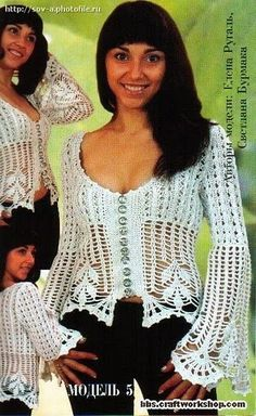 Delicacies in crochet Gabriela: 80 Free Patterns: Blouses excellent variety of models