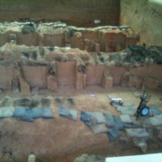 아직 발굴 중인 병마용.  검은색의 흔적은 항우가 진시황 무덤을 파헤친 뒤 불을 살라 재가 남은 흔적.