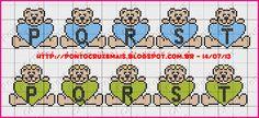 Ponto Cruz e Mais: Monogramas de Ursinhos - Feitos Por Nós
