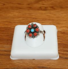 Old Pawn Snake-eyes Coral and Turquoise Flower Ring Size 6.5 plus Free USA Shipping! by Route66Diner on Etsy