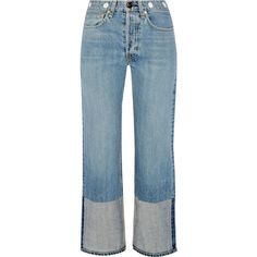 Rag & bone Embellished cropped high-rise straight-leg jeans (430 CAD) ❤ liked on Polyvore featuring jeans, pants, bottoms, denim, light denim, high waisted button jeans, high waisted jeans, rag bone jeans, embellished jeans and high rise jeans