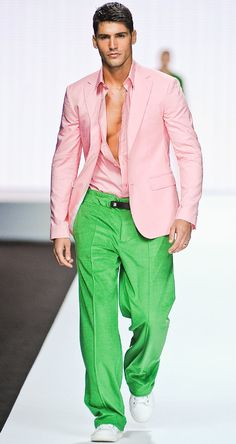 Damn...this is just sexy. He looks so good in pink and green.