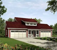 4 car garage plan... only has one bed but build above a garage and you would have room for two more beds and another bath.