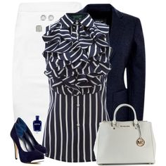 """""""Ruffling the Office Outfit"""" by rleveryday on Polyvore - Looking great in this navy and white #professionaloutfit! @RLEveryday www.redlettereveryday.com #workoutfit #officeOutfit #Businessoutfit"""