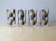 black and gold glassware | vintage black and gold highball glass tumblers