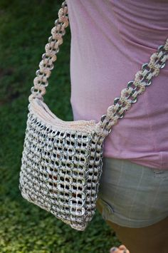 Unique Peach Upcycled Crochet Long Strap Pop Tab Bag. $40.00, via Etsy.