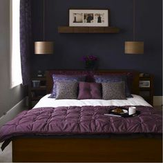 Paint Colors for Small Bedroom: Choice of Colors Combination : Purple Bed Cover Classic Pendant Lamp Dark Blue Paint Colors For Small Bedroo...