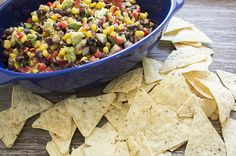 Recipe: Black Bean, Corn and Avocado Dip, added Sriracha ranch!!!