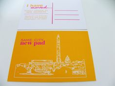 Custom Moving  Announcment Notice Change Of Address Postcards City Skyline Set of 48 - Any City Available