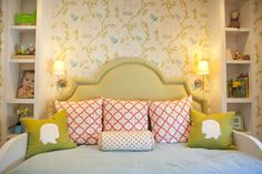 "Andrika King Design | Coral & Celery Green | Nina Campbell for Osborne & Little ""Bird Cage"" Wallpaper 