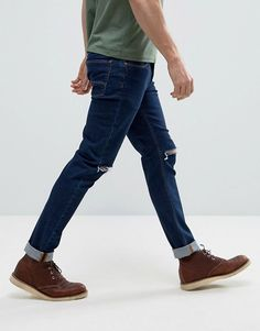 bc1ea8559df ASOS Skinny 12.5oz Jeans With Rips In Dark Blue at asos.com