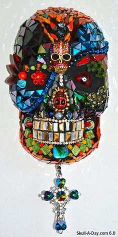 Mosaic Skull by Artist Janis Nunez in Orlando, FL