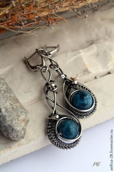 Dreams - синий,wire wrap,серьги из серебра,апатит,серьги с синим камнем