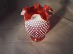 Fenton Cranberry Opalescent Hobnail Ruffled Vase vintage Glass. Hobanil, Depression Era, Vase, Vintage Glassware, FREE SHIPPING