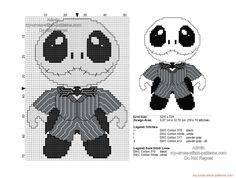 Baby Jack Skellington free Halloween cross stitch pattern 50x70