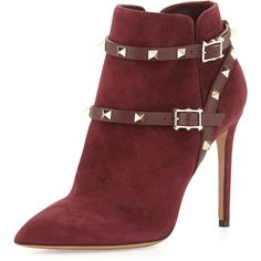 Valentino Suede High-Heel Rockstud Bootie (5.850 RON) ❤ liked on Polyvore featuring shoes, boots, ankle booties, valentino, zapatos, rubin, slip on boots, pointed toe ankle boots, suede ankle boots and high heel ankle boots
