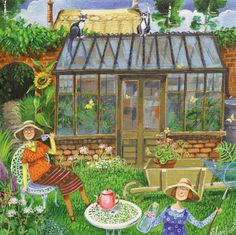 'A Sunday Afternoon In The Garden' By Painter Stephanie Lambourne. Blank Art Cards By Green Pebble. www.greenpebble.co.uk
