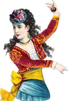 Oblaten Glanzbild scrap die cut chromo Kind child Lady Dame femme Spain national