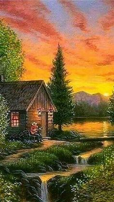Paysage - New Tutorial and Ideas Pictures To Paint, Nature Pictures, Art Pictures, Fantasy Landscape, Landscape Art, Landscape Paintings, Beautiful Paintings, Beautiful Landscapes, Kinkade Paintings