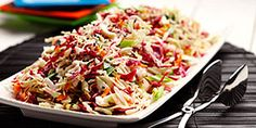 Japanese Sesame Slaw This colourful salad offers tangy flavour and crunch. Much lighter than a classic coleslaw, pack it along on your next potluck or enjoy as an accompaniment to fish, chicken or grilled tofu kabobs. Diabetic Meal Plan, Diabetic Recipes, Low Carb Recipes, Cooking Recipes, Healthy Recipes, Diabetic Foods, Vegetarian Cooking, Healthy Options, Kitchen Recipes