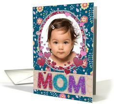 Mothers Day custom photo card, Mom, patchwork patterns, hearts card by Micklyn Le Feuvre