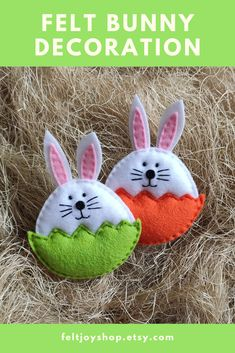 Cute ornaments Easter egg with bunny are totally hand made with love for your home spring decor. Hand cut and hand sewn of high-quality soft felt, lightly stuffed with non-allergenic hollofayber. Fleece Crafts, Felt Crafts Diy, Easy Easter Crafts, Hand Sewn Crafts, Fabric Crafts, Fall Sewing Projects, Easter Projects, Spring Crafts, Holiday Crafts