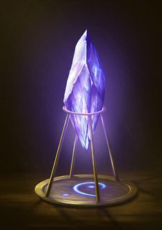 Dark Fantasy Art, Fantasy Artwork, Fantasy World, Anime Weapons, Fantasy Weapons, Crystal Illustration, Digital Illustration, Fantasy Art Landscapes, Crystal Magic