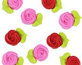 PInk & Red Icing Rosettes - edible royal icing flowers for decorating cupcake, cakes, cookies, and cakepops