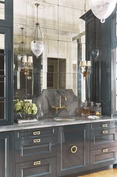 Home Interior Design Gorgeous blue cabinetry gold accents and mirrored wall via Quintessential Kitchens.Home Interior Design Gorgeous blue cabinetry gold accents and mirrored wall via Quintessential Kitchens Interior Modern, Home Interior, Interior Design, Bad Inspiration, Bathroom Inspiration, Bathroom Ideas, Bathroom Colors, Bathroom Gray, Bathroom Mirrors