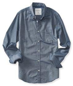 Aeropostale Long Sleeve Solid Oxford Woven Shirt