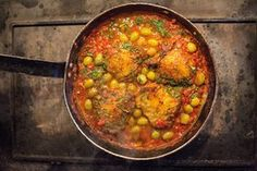 Chicken thighs in green olive and tomato sauce - could try with cauliflower and/or fake chix