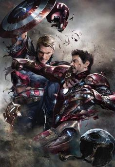 Alexander Lozano, one of the best cover artists working for Marvel, created one of the greatest piece of art you will ever see, featuring Captain America and Iron Man fighting to the death. Marvel Avengers, Marvel Comics, Marvel Fanart, Films Marvel, Heros Comics, Marvel Heroes, Captain Marvel, Stark Tower, Civil War Art