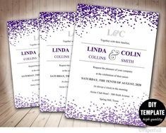 Image Result For Purple Wedding Invitation Template