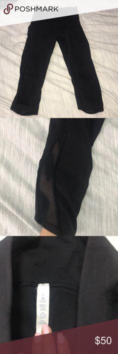 Lulu lemon leggings Lulu lemon leggings. Size 4. Worn twice. Mesh detailing on bottom sides! Size XS. lululemon athletica Pants Leggings