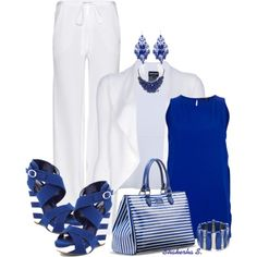 Royal Blue & White 2, created by shakerhaallen on Polyvore Like those wedges!
