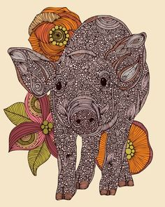 Pig and flowers illustration by Valentina Ramos