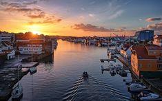 Haugesund, Norwegian city, morning, sunrise, Rogaland, Norway
