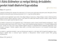 A kúria közleménye - 51/17 EU Bírósági Ítélet. Edm