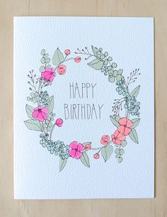 Floral Wreath Birthday Card by HartlandBrooklyn on Etsy, $4.50                                                                                                                                                                                 More